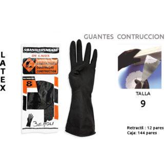 GUANTE CONSTRUCCION BEHOLI LATEX NEGRO T- 9